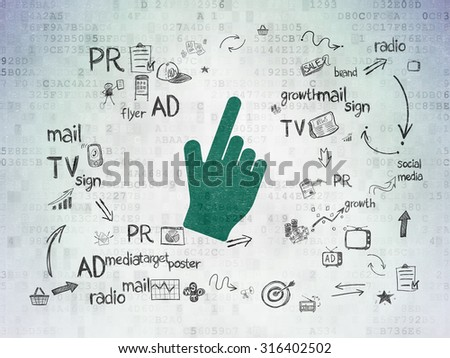 Advertising concept: Painted green Mouse Cursor icon on Digital Paper background with Scheme Of Hand Drawn Marketing Icons - stock photo