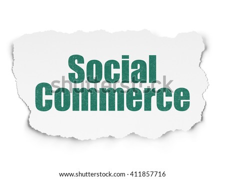 Advertising concept: Painted green text Social Commerce on Torn Paper background with  Tag Cloud