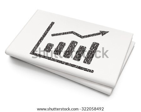 Advertising concept: Pixelated black Growth Graph icon on Blank Newspaper background