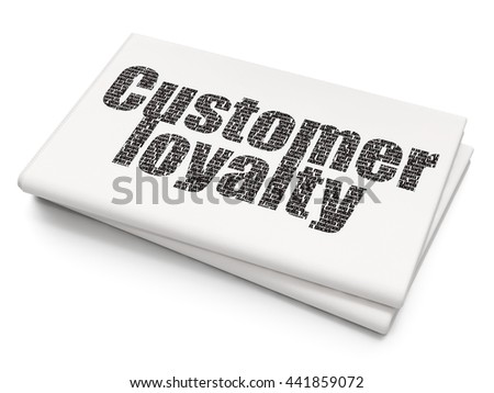 Advertising concept: Pixelated black text Customer Loyalty on Blank Newspaper background, 3D rendering - stock photo