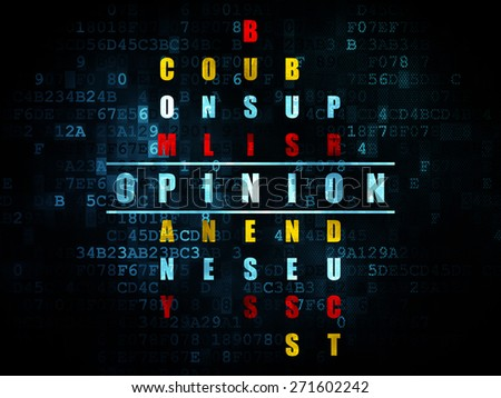 Advertising concept: Pixelated blue word Opinion in solving Crossword Puzzle on Digital background, 3d render - stock photo