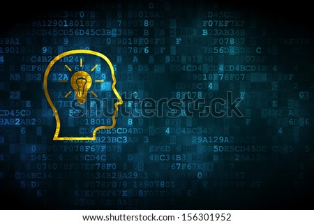 Advertising concept: pixelated Head With Lightbulb icon on digital background, empty copyspace for card, text, advertising, 3d render