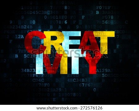 Advertising concept: Pixelated multicolor text Creativity on Digital background, 3d render - stock photo