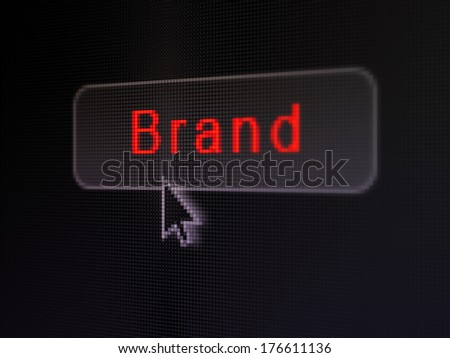 Advertising concept: pixelated words Brand on button with Arrow cursor on digital computer screen background, selected focus 3d render - stock photo