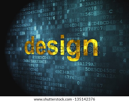 Advertising concept: pixelated words Design on digital background, 3d render