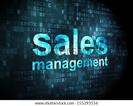 Advertising concept: pixelated words Sales Management on digital background, 3d render