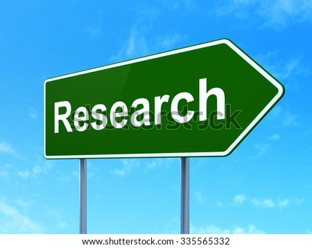 Advertising concept: Research on green road (highway) sign, clear blue sky background, 3d render - stock photo