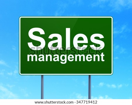 Advertising concept: Sales Management on green road highway sign, clear blue sky background, 3d render - stock photo
