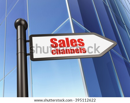 Advertising concept: sign Sales Channels on Building background - stock photo