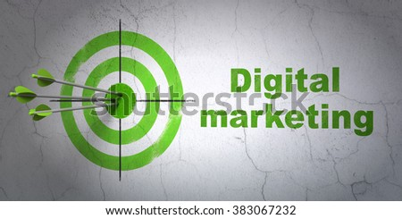 Advertising concept: target and Digital Marketing on wall background - stock photo