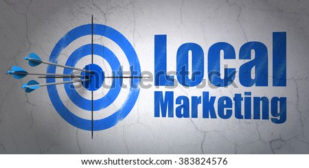 Advertising concept: target and Local Marketing on wall background - stock photo