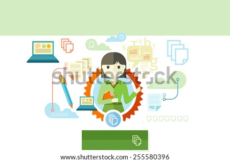 Advertising copywriter expert of marketing profession series. Woman holding a clipboard and pen with item icons in flat design. Raster version - stock photo