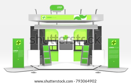 Advertising exhibition colorful dummy box realistic 3d design composition with infographic stands promo posters and highlighting  illustration