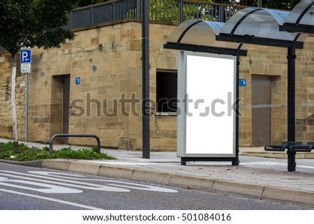 Advertising Space Bus Stop White Isolated Outdoors Empty Nobody Bench Street Sidewalk Curb Blank Empty Text Copyspace