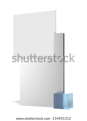 Advertising stand with blue cube