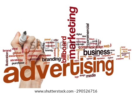 Advertising word cloud concept - stock photo