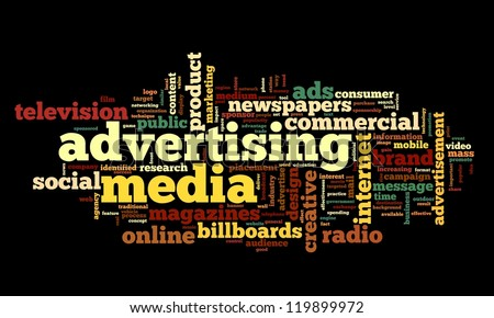 Advertising word concept in tag cloud on white background