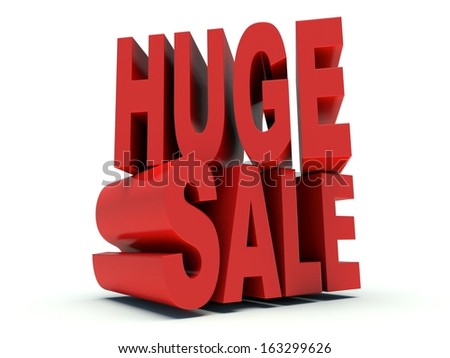 Advertising words Huge Sale. 3d render illustration.
