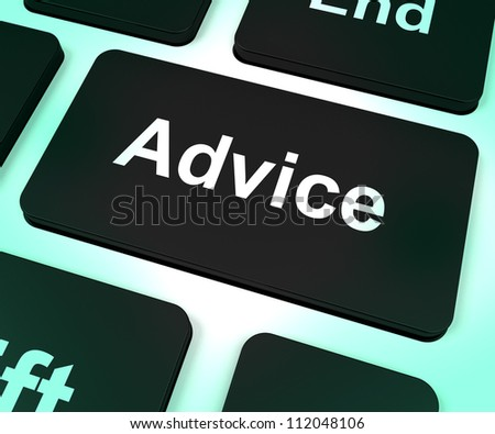 Advice Computer Key Shows Assistance And Help - stock photo