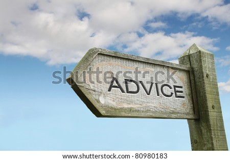 Advice Wooden Sign with Sky Background - stock photo