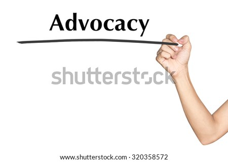 Advocacy Man hand writing virtual screen text on white background - stock photo