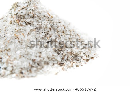 Adyghe delicious salt with spices on white background