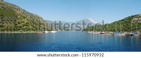 aegean sea landscape view of sea with yachts - stock photo