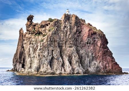 Aeolian island lighthouse, sicily. Italy. - stock photo