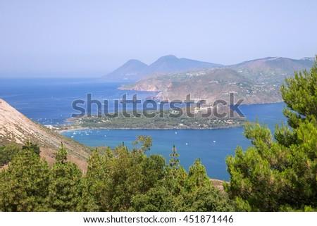 Aeolian islands italy A view from vulcano to lipari island - stock photo