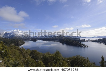Aereal View of the Tourist Circuit of Nahuel Huapi National Park, San Carlos de Bariloche, Patagonia, Argentina.