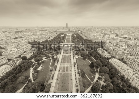 Aerial black and white view of Paris, France. - stock photo