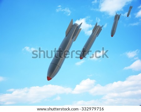 Aerial bomb and sky (done in 3d) - stock photo