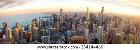 Aerial Chicago panorama at sunset, IL, USA - stock photo