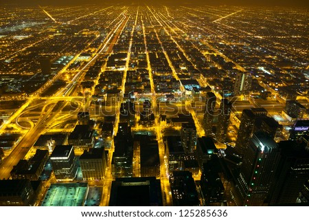 Aerial city night view of Chicago, IL, USA - stock photo