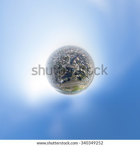 Aerial city view with crossroads, roads, houses, buildings, parks, parking lots, bridges - little planet spherical mode  - stock photo
