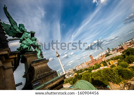 Aerial cityscape of Berlin, Germany - stock photo