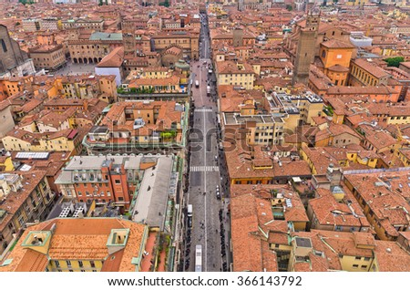 "Aerial cityscape view from ""Due torri"" or two towers, Bologna, province Emilia-Romagna, Italy - stock photo"