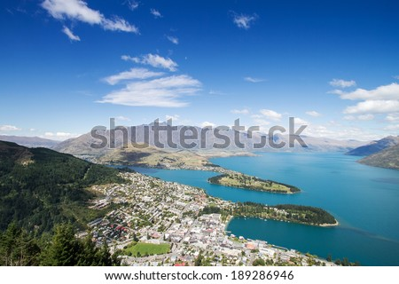 Aerial Cityscape View of Queenstown New Zealand - stock photo