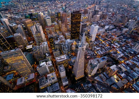 Aerial cityscape view of San Francisco, California, USA - stock photo