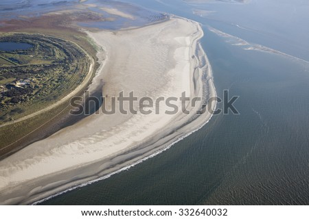 Aerial coastal view of the shore of Ameland Frisian Island, The Netherlands - stock photo