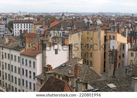 aerial downtown roofs of lyon france - stock photo