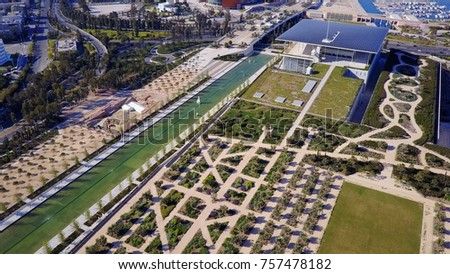 Aerial drone, birds eye view photo taken by drone of public settlement of Stavros Niarchos foundation and cultural center, Phaleron, Attica, Greece
