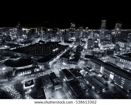 Aerial Drone Black And White Cityscape Of The Capital City Denver Colorado At Night