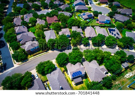 Aerial Drone View Above Austin Texas Stock Photo 701841448