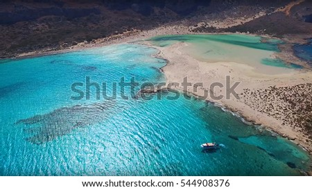 Aerial drone view of iconic beach of Balos with turquoise waters, Gramvousa, Crete, Greece