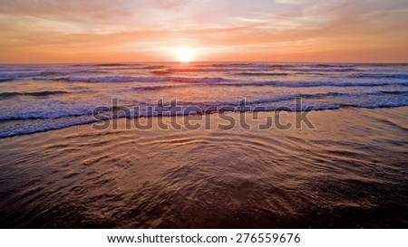 Aerial from a sunset at Vale Figueiras in Portugal - stock photo