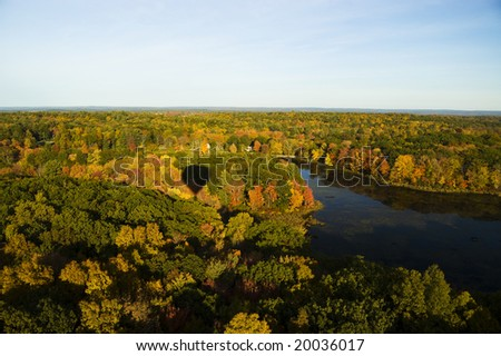 Aerial from hot air balloon - stock photo