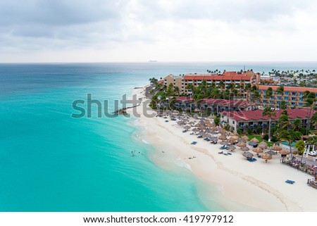 Aerial from Manchebo beach on Aruba island in the Caribbean