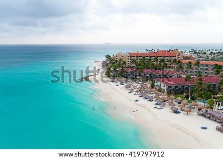 Aerial from Manchebo beach on Aruba island in the Caribbean - stock photo