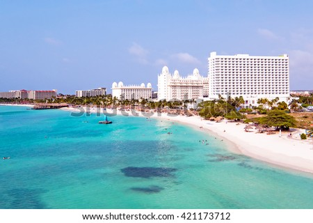 Aerial from Palm beach at Aruba in the Caribbean Sea - stock photo